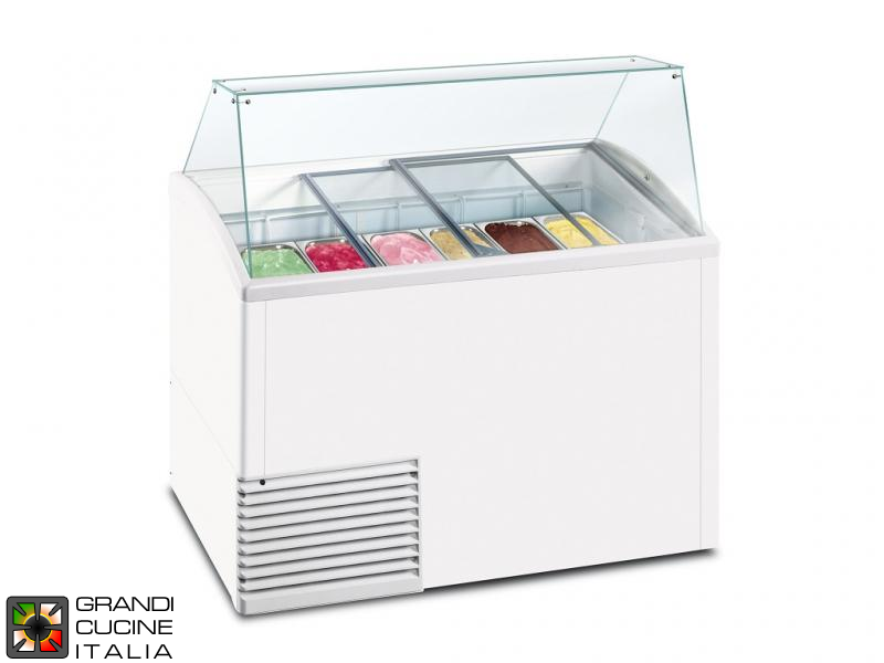 Scoop Ice Cream Refrigerated Cabinet - Capacity N°10 Bins - Static Refrigeration - on Pivoting Castors - White Color
