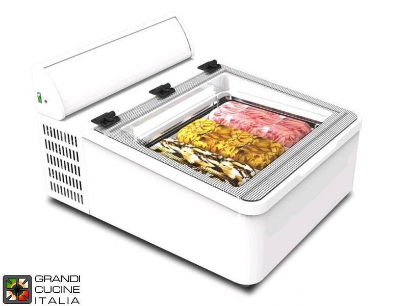 Tabletop Scoop Ice Cream Showcase - Capacity N°3 Bins - Static Refrigeration - Tabletop - White Color - Led Illumination