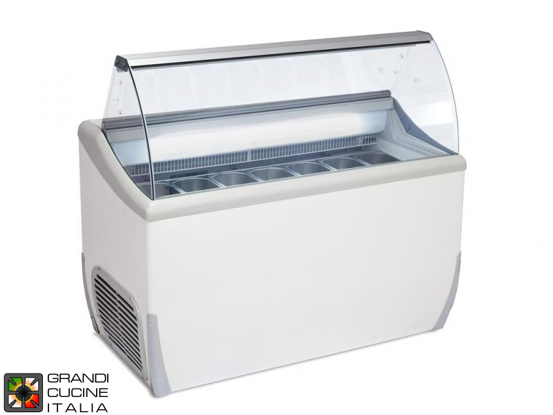 Scoop Ice Cream Refrigerated Cabinet - Capacity N°9 Bins - Static Refrigeration - on Pivoting Castors - White Color