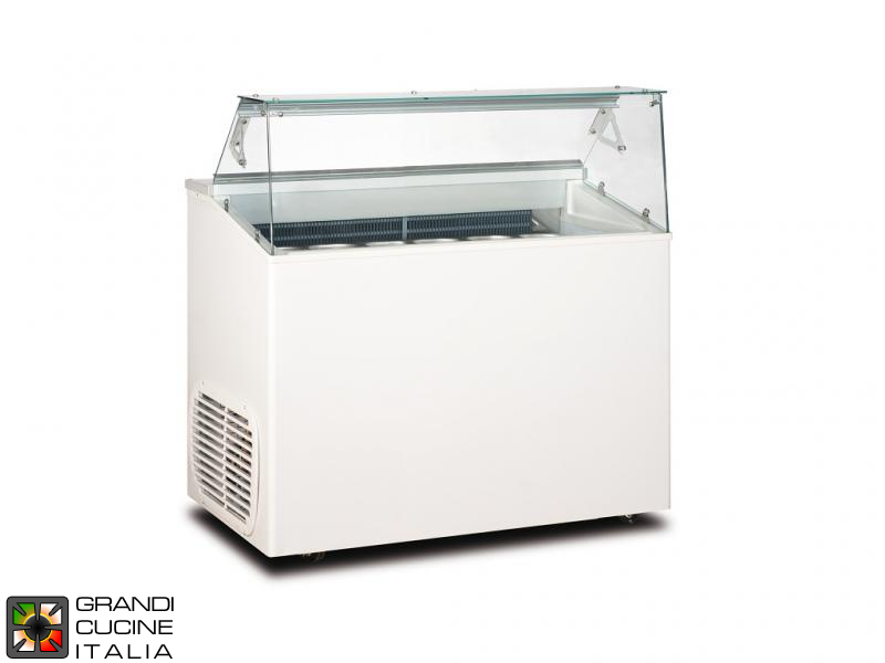Scoop Ice Cream Refrigerated Cabinet - Capacity N°6 Bins - Static Refrigeration - on Pivoting Castors - White Color