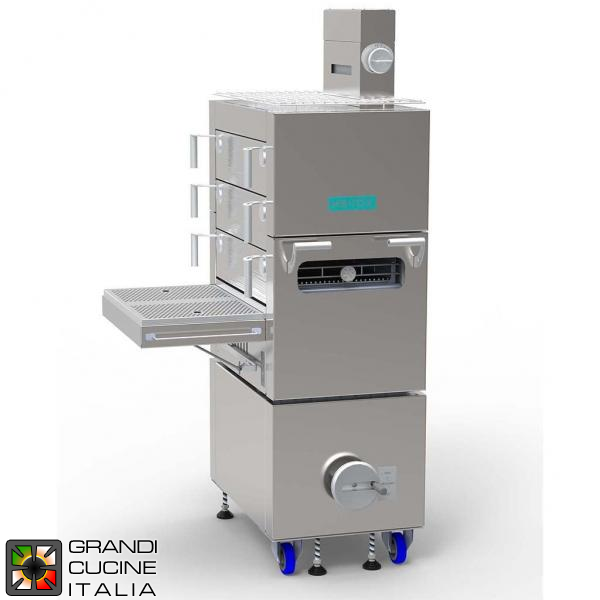 Professional Charcoal Oven - Three Drawer Grids - Total Cooking Surface 3x GN1/1 - Max Temperature 350°C - On Stand with Wheels