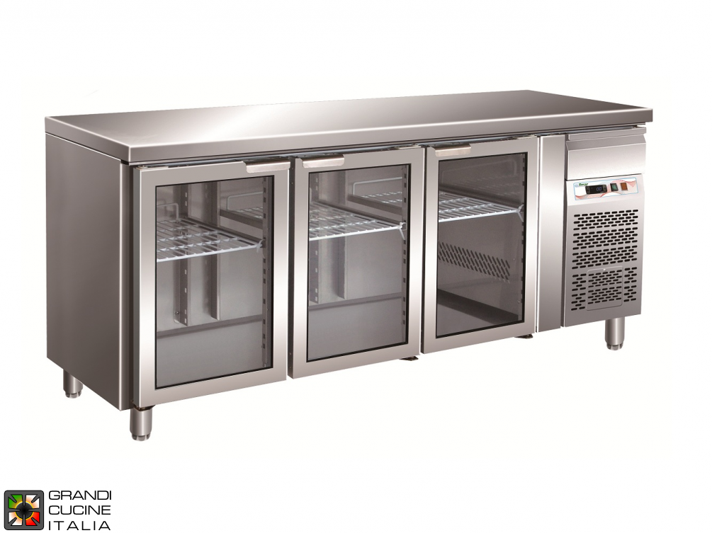Refrigerated counter GN1/1 with ventilated refrigeration - Glass Door - Range -2 / +8