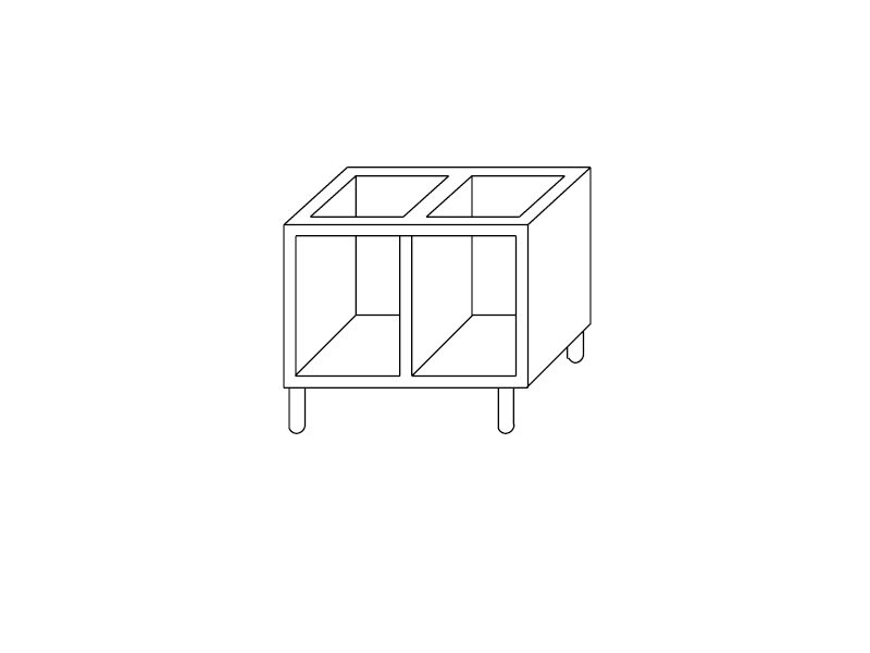 Open Cabinet Support - Length 80 Cm