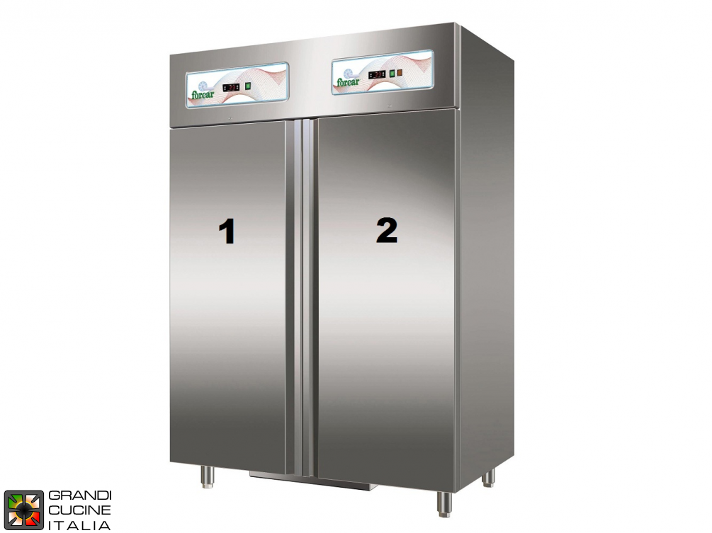 Dual Temp Refrigerated Cabinet - 1100 Liters - Temperature  +2 / +8 °C - Temperature  -18 / -22 °C - Two Doors - Static Refrigeration