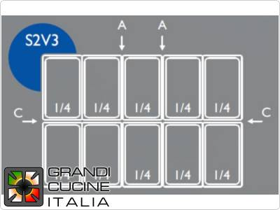 Combination GN trays + lids for saladette 2-door