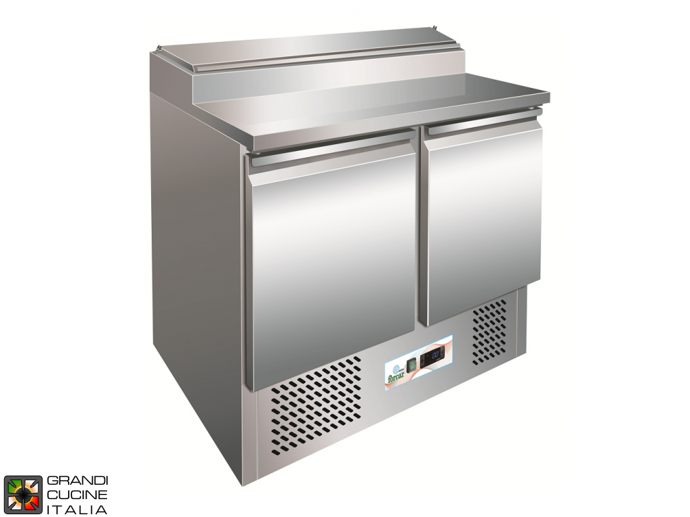 Refrigerated Saladette - GN 1/1 - Condiments Holder Capacity 5x GN 1/6 - Temperature +2°C / +8°C - Two Doors - Bottom Engine compartment - Smooth worktop - Static Refrigeration