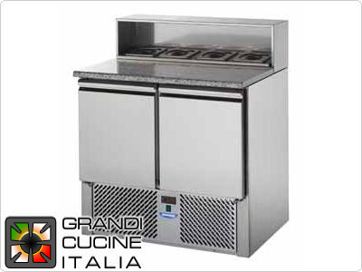 Refrigerated Saladette - GN 1/1 - Condiments Holder Capacity 5x GN 1/4 - Temperature +4°C / +10°C - Two Doors - Stainless Steel Superstructure - Stone Worktop - Static Refrigeration
