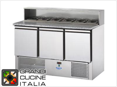 Refrigerated Saladette - GN 1/1 - Condiments Holder Capacity 8x GN 1/4 - Temperature +4°C / +10°C - Three Doors - Stainless Steel Superstructure - Stone Worktop - Static Refrigeration