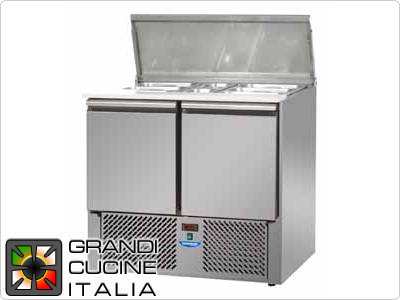 Refrigerated Saladette - GN 1/1 - Condiments Holder Capacity 10x GN 1/4 - Temperatura +4°C / +10°C - Two Doors - Stainless Steel Lid - Smooth worktop - Static Refrigeration