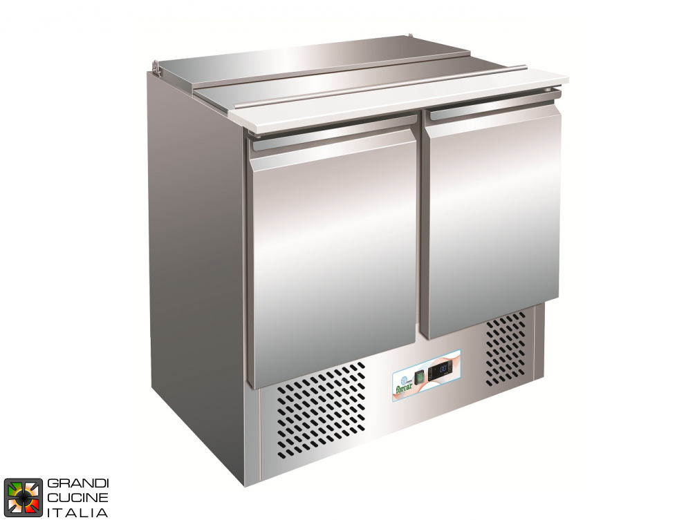 Refrigerated Saladette - GN 1/1 - Condiments Holder Capacity 2x GN 1/1 + 3x GN 1/6 - Temperature +2°C / +8°C - Two Doors - Bottom Engine compartment - Smooth worktop - Static Refrigeration