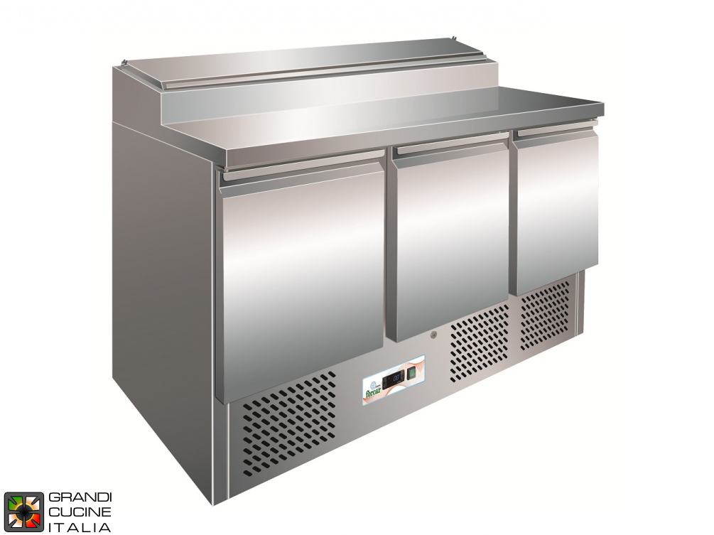 Refrigerated Saladette - GN 1/1 - Condiments Holder Capacity 8x GN 1/6 - Temperature +2°C / +8°C - Three Doors - Bottom Engine compartment - Smooth worktop - Static Refrigeration