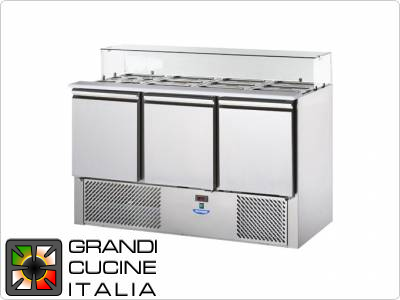 Refrigerated Saladette - GN 1/1 - Condiments Holder Capacity 16x GN 1/4 - Temperature +4°C / +10°C - Three Doors - Straight Glasses Superstructure - Smooth worktop - Static Refrigeration