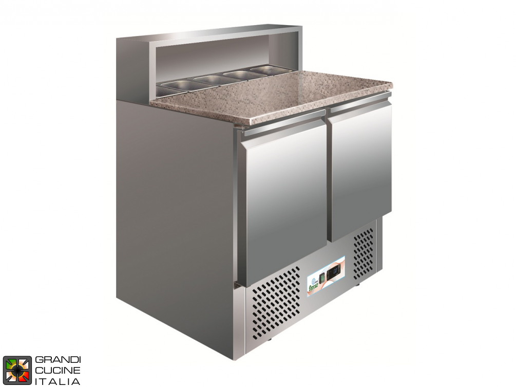 Refrigerated Saladette - GN 1/1 - Condiments Holder Capacity 5x GN 1/6 - Temperature +2°C / +8°C - Two Doors - Bottom Engine compartment - Stone Worktop - Static Refrigeration