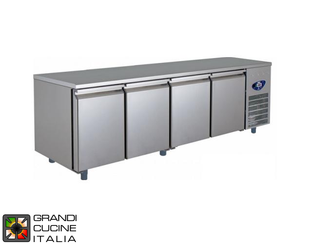 Refrigerated Counter - Depth 60 Cm - Temperature -2°C / +8°C - Four Doors - Engine compartment on the Right - Smooth Worktop - Ventilated Refrigeration