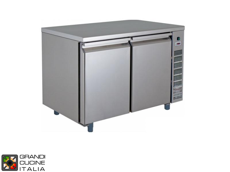 Refrigerated Counter - GN 1/1 - Temperature -2°C / +8°C - Two Doors - Engine compartment on the Right - Smooth Worktop - Ventilated Refrigeration
