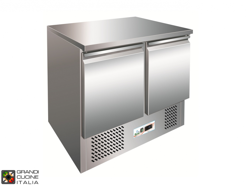 Refrigerated counter - GN 1/1 - Temperature -12°C / -18°C - Two Doors - Bottom Engine compartment - Smooth worktop - Static Refrigeration