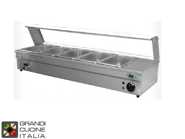 Bain-Marie Countertop Showcase - Trays Capacity N° 5x GN 1/3 - Max Temperature 90 °C - Width 1055 mm