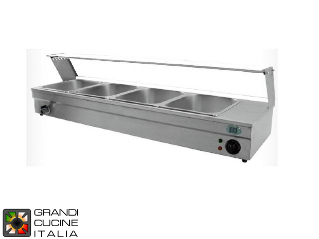Bain-Marie Countertop Showcase - Trays Capacity N° 3x GN 1/2 - Max Temperature 90 °C - Width 950 mm