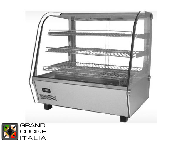 Hot Showcase - 3 extractable and adjustable shelves - Capacity 120 Lt