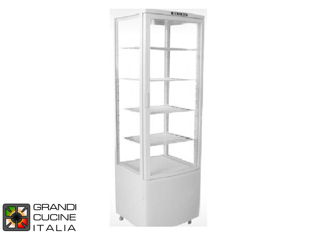 Vertical Refrigerated Cabinet on Castors - 4 Adjustable Shelves - Temperature Range +2/+12 °C - White Color