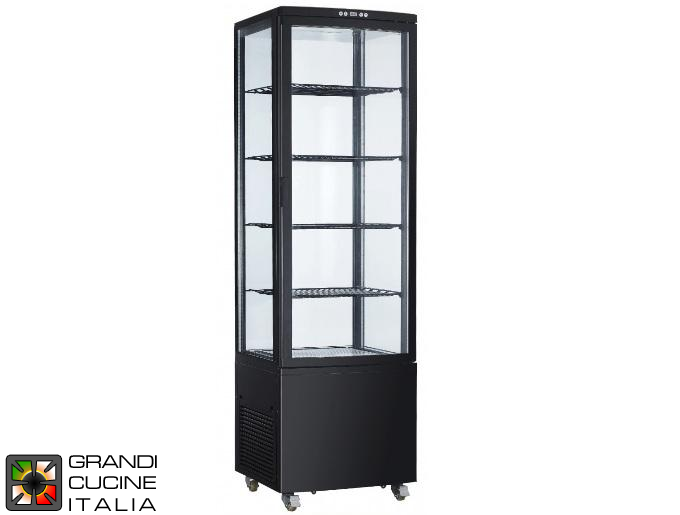 Vertical Refrigerated Cabinet on Castors - 4 Adjustable Shelves - Temperature Range +2/+12 °C - Black Color