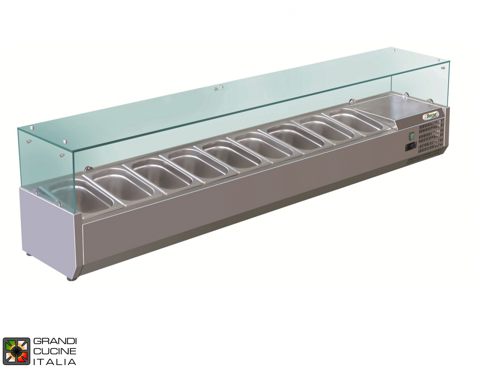 Refrigerated glass cabinet for Ingredients - Positive Temperature +2 / +8°C - Width 200 Cm
