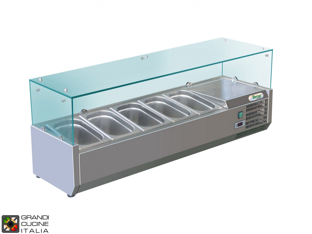 Refrigerated glass cabinet for Ingredients - Positive Temperature +2 / +8°C - Width 140 Cm
