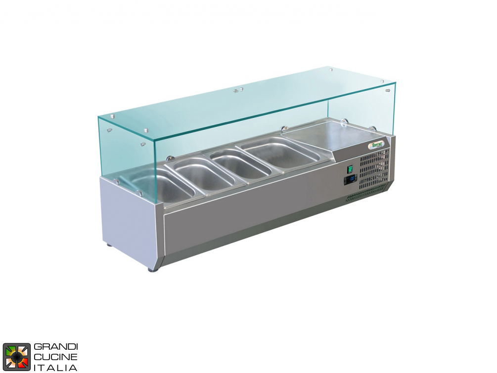 Refrigerated glass cabinet for Ingredients - Positive Temperature +2 / +8°C - Width 120 Cm