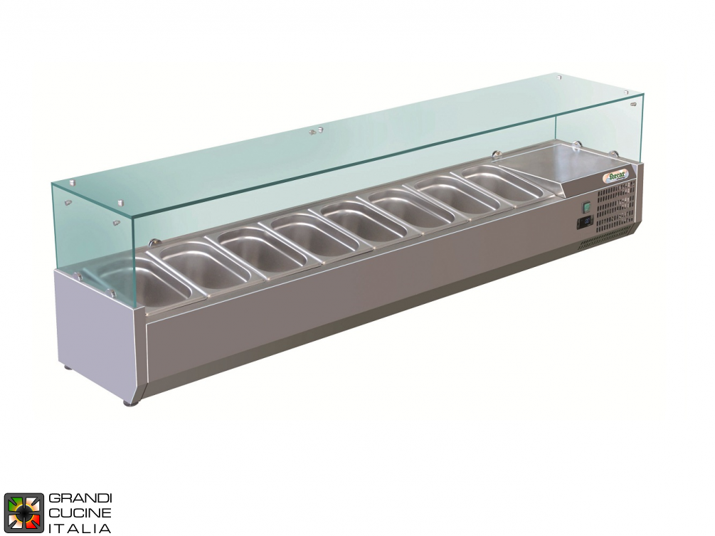 Refrigerated glass cabinet for Ingredients - Positive Temperature +2 / +8°C - Width 180 Cm
