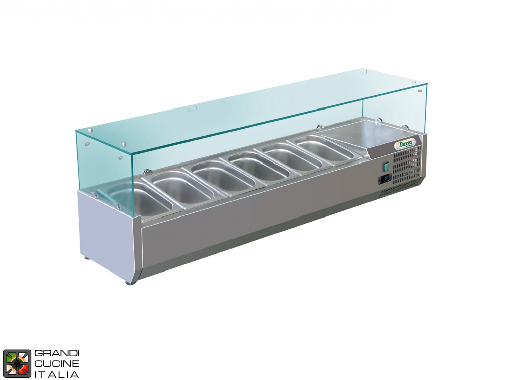 Refrigerated glass cabinet for Ingredients - Positive Temperature +2 / +8°C - Width 150 Cm