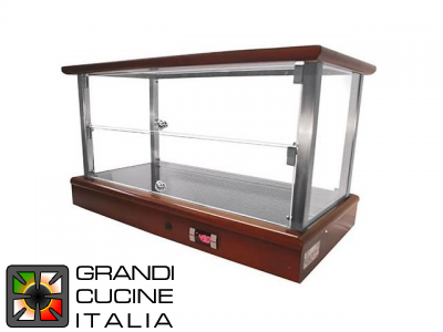Warmed  Countertop Showcases with Wooden Finishing - 2 shelves - Width 74 Cm