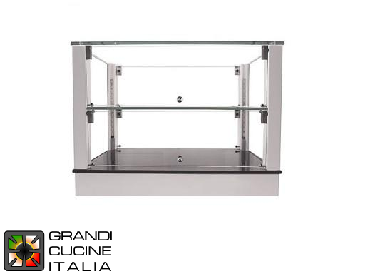 Neutral Countertop Showcase - 2 Shelves - White Color - Width 500 mm