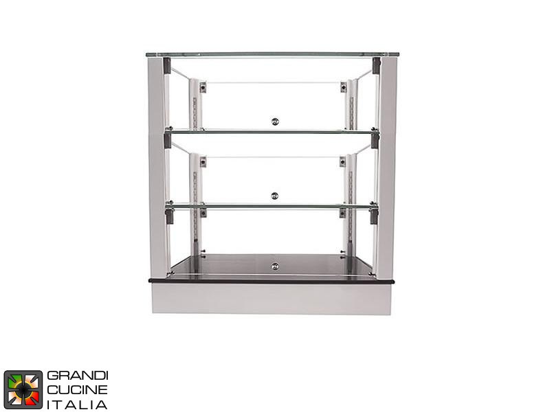 Neutral Countertop Showcase - 3 Shelves - White Color - Width 500 mm