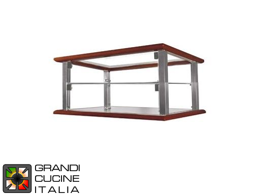 Neutral Countertop Showcase - 2 Shelves - Cherry Wood Color - Width 740 mm