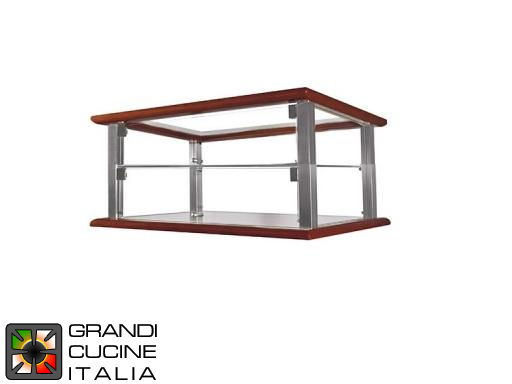 Neutral Countertop Showcase - 2 Shelves - Cherry Wood Color - Width 520 mm