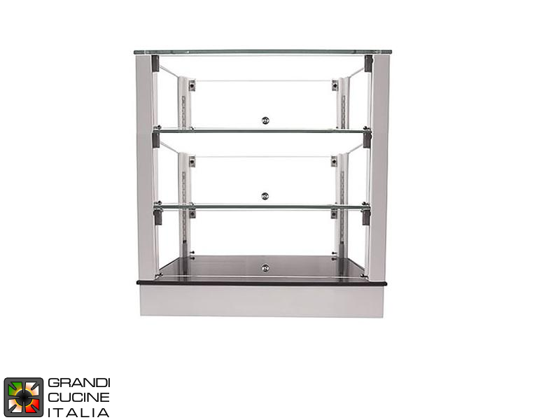 Neutral Countertop Showcase - 3 Shelves - White Color - Width 720 mm