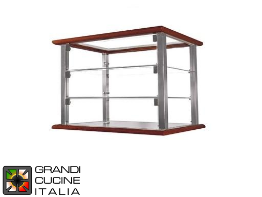 Neutral Countertop Showcase - 3 Shelves - Cherry Wood Color - Width 1070 mm