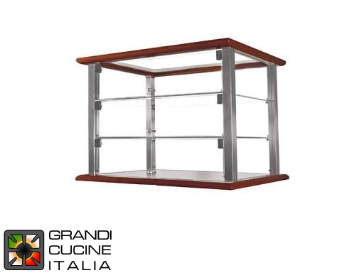 Neutral Countertop Showcase - 3 Shelves - Cherry Wood Color - Width 520 mm