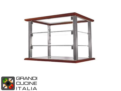 Neutral Countertop Showcase - 3 Shelves - Cherry Wood Color - Width 740 mm