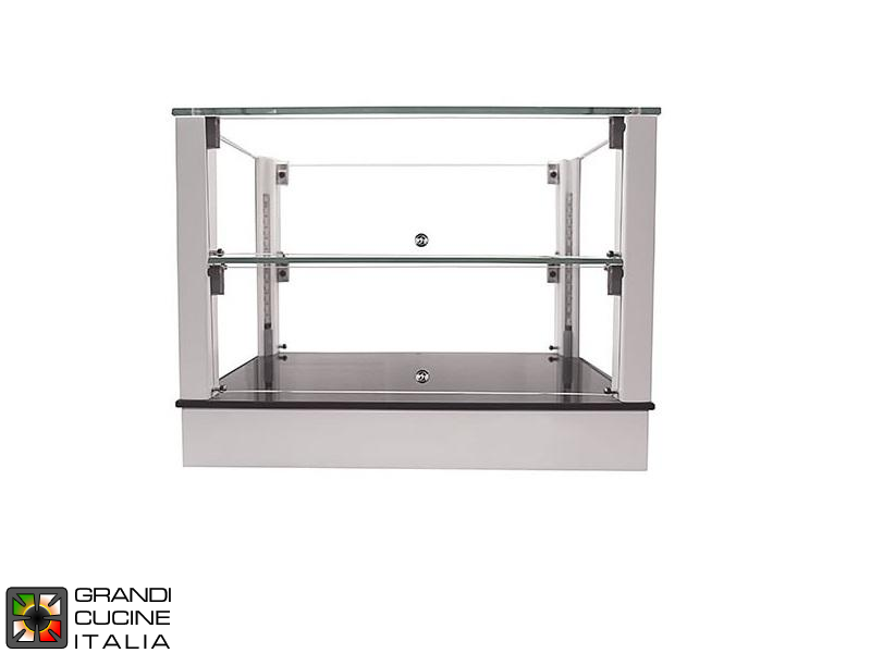 Neutral Countertop Showcase - 2 Shelves - White Color - Width 720 mm