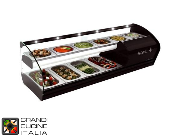 Dual Refrigerated Surface Showcase for Ingredients - 10 GN Bowls Capacity - Positive Temperature +2/+5 °C