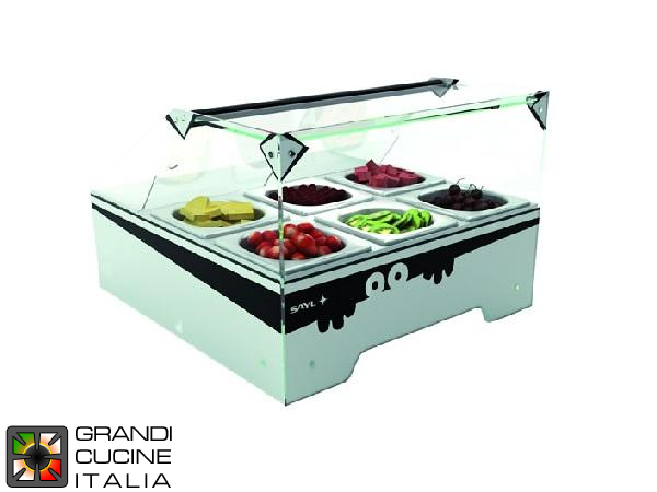 Refrigerated Display for Ingredients - Positive Temperature +4/+7 °C - N°6 Bowls